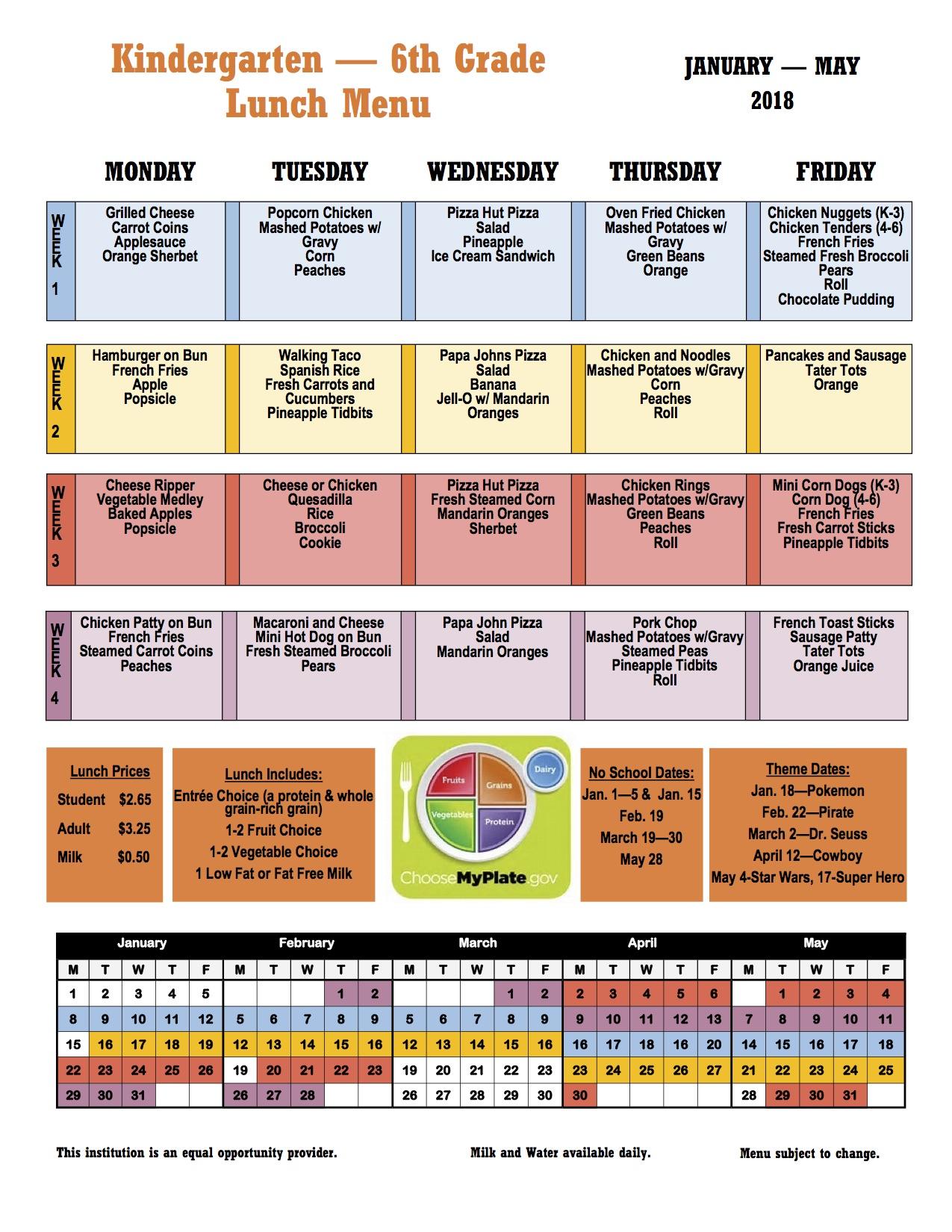 Menus for Cafeteria = 2nd Semester – J.B. Stephens ...